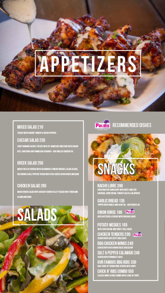 The Palms Bar & Grill Appetizer menu